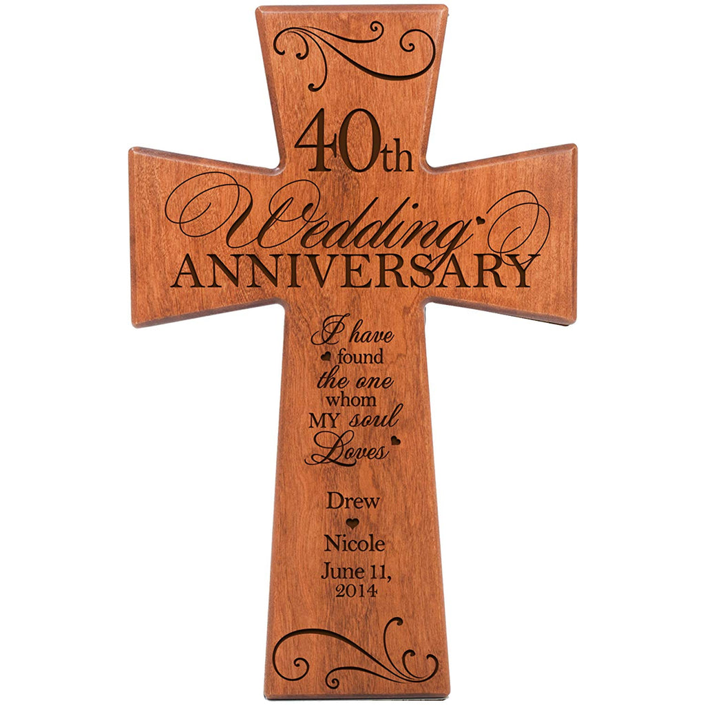 Personalized 40th Wedding Anniversary Cherry Wall Cross I Have
