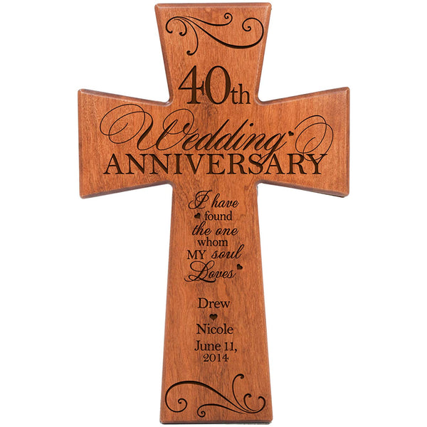 Personalized 40th Wedding Anniversary Cherry Wall Cross -Found the One