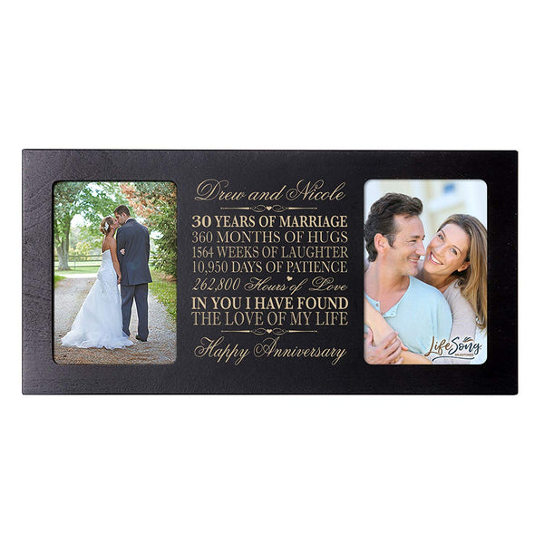 Personalized 30th Anniversary Double Photo Frame - Happy Anniversary Black