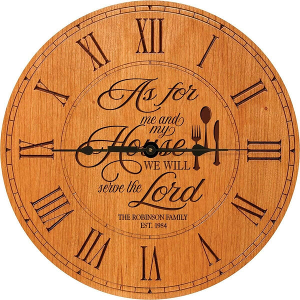 "As For Me and My House We Will Serve the Lord Wedding Clock or Anniversary Clock Personalized Wedding Gift Anniversary Gift Housewarming Gift "" Monogram Initial Clock (Cherry)"