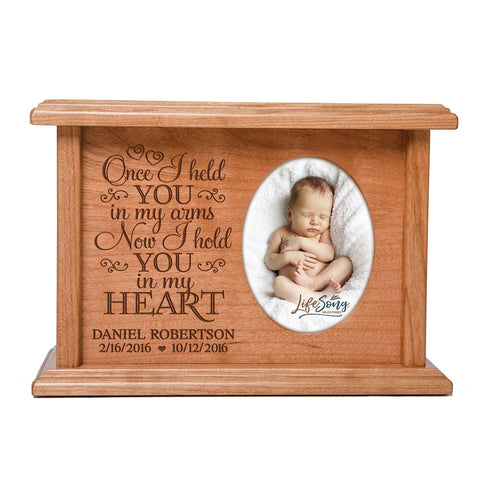 Cremation Urns for Human Ashes SMALL Memorial Keepsake box for cremains, personalized Urn for adults and children ashes Once I held YOU in my arms SMALL portion of ashes holds 2x3 photo
