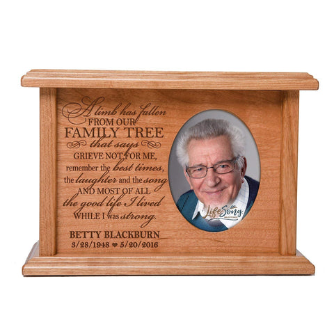 Custom Memorial Cremation Urn Box for Human Ashes holds 2x3 photo and holds 65 cu in A Limb Has Fallen