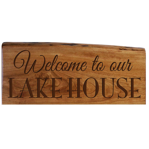 Family Gift Custom Welcome Solid Cherry Wood Live Edge Sign Engraved Wedding Gift Ideas By LifeSong Milestones