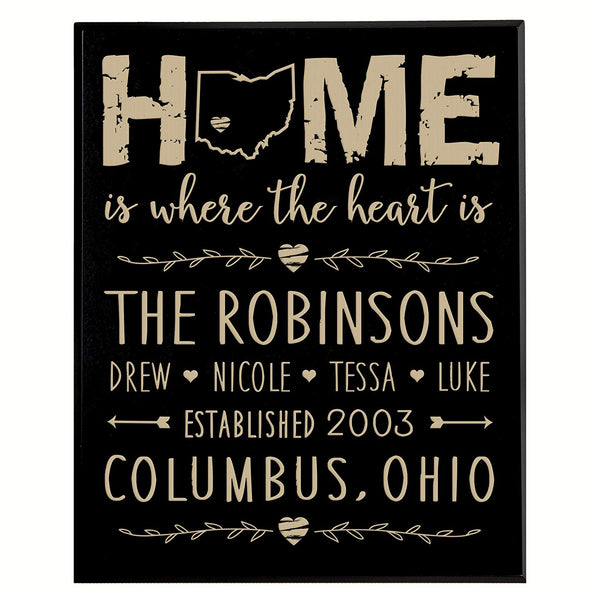 "Personalized Black Solid Plaque Home is where the heart is Family Established with Last Name, First Names and Date Established by LifeSong Milestones 12"" x 15"""
