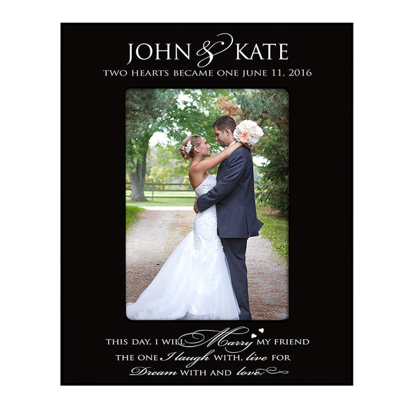 "Wedding Photo Frame "" Two Hearts Became One "" Holds 4x6 Photo By LifeSong Milestones"