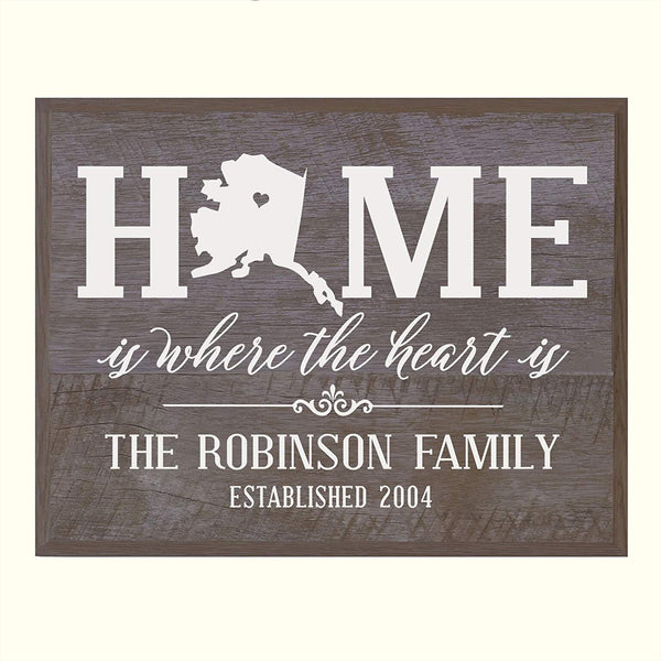LifeSong Milestones Personalized Alaska State Home is Where the heart is Wall plaque with Family last Name and Year Established Housewarming gift by