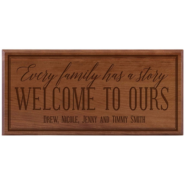 Personalized Family Established Date Sign - Every Family Has A Story (8x16, cherry)