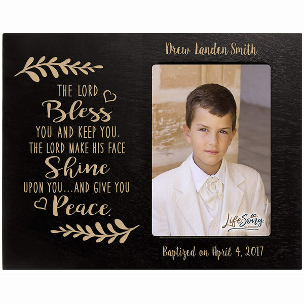 Personalized gift for Baptism First Holy Communion Confirmation Photo Frame The Lord BLESS YOU and keep you. Maple picture frame holds 4x6 photo