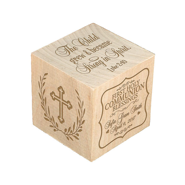Personalized Baby Dedication Maple Blocks - May God Bless You The Child Grew