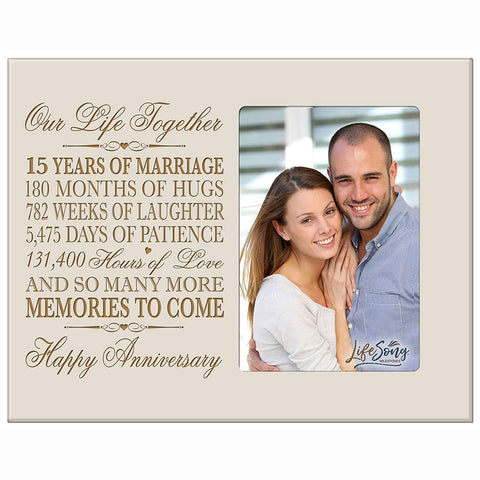 Fifteen year anniversary gift her him couple Engraved 15th year wedding celebration for husband wife girlfriend boyfriend frame holds 4x6 photo by LifeSong Milestones