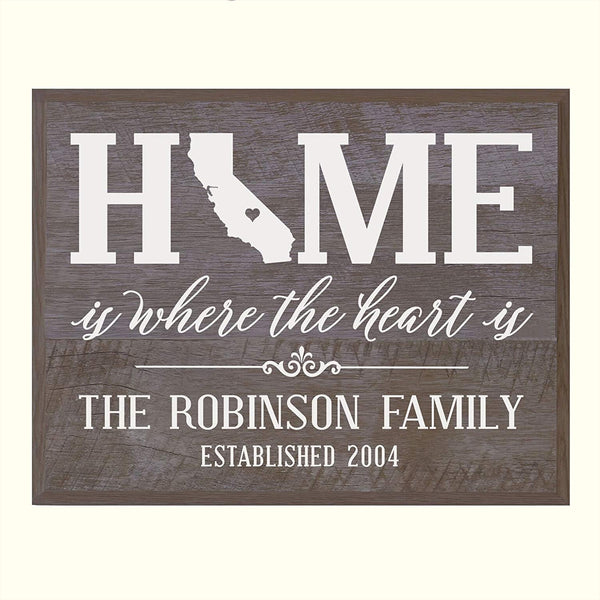LifeSong Milestones Personalized California State Home is Where the heart is Wall plaque with Family last Name and Year Established Housewarming gift by