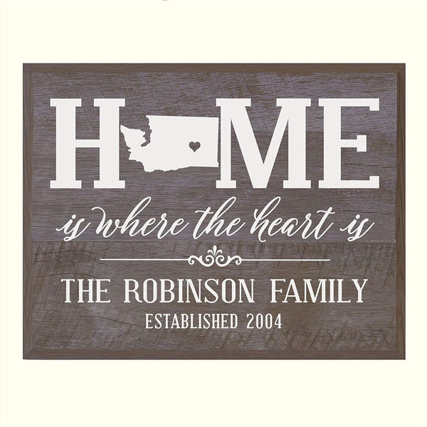 Personalized Washington State Home is Where the heart is Sign