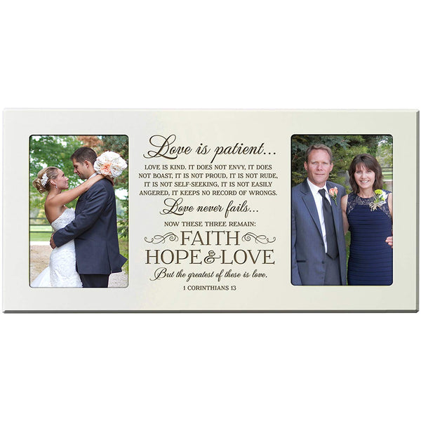 "Personalized wedding picture frame gift for Bride and Groom for parents ""Love is patient, love is Kind, Love never fails"" Exclusively from LifeSong Milestones"