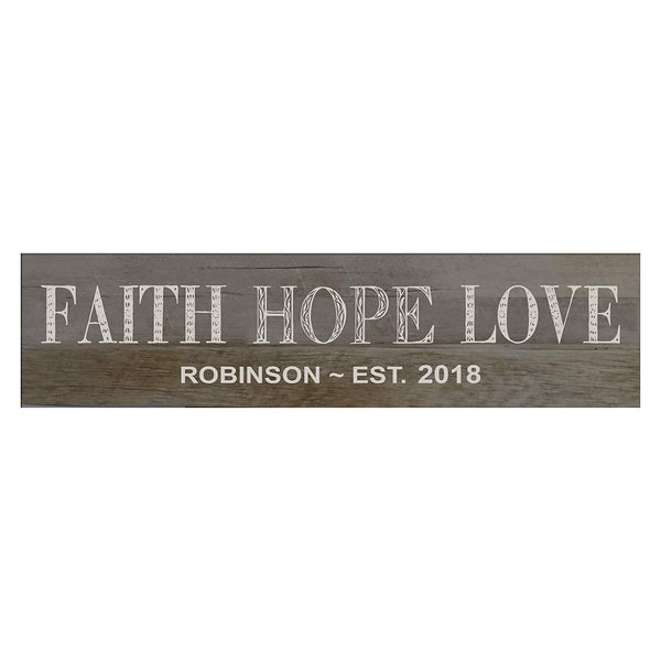 "LifeSong Milestones Faith, Hope, Love Personalized Family Established Wall Signs, Last Name sign for home, Wedding, Anniversary, Living Room, Entryway 10"" H x 40"" L"