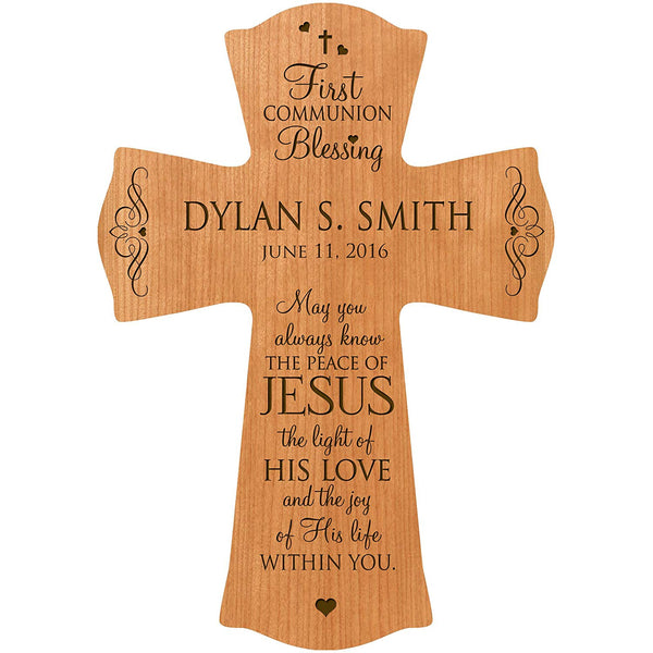 "Personalized Baptism Cross for Boys & Girls for Table or Wall Display 1st communion "" May You always know the Peace of Jesus the light of his love and the Joy of his life within you """
