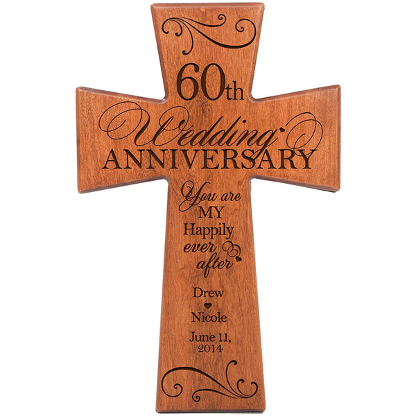 Personalized 60th Wedding Anniversary Cherry Wall Cross Happily Ever