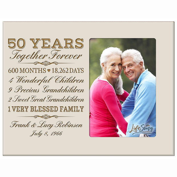 Personalized 50th Anniversary Photo Frame - Together Forever Ivory
