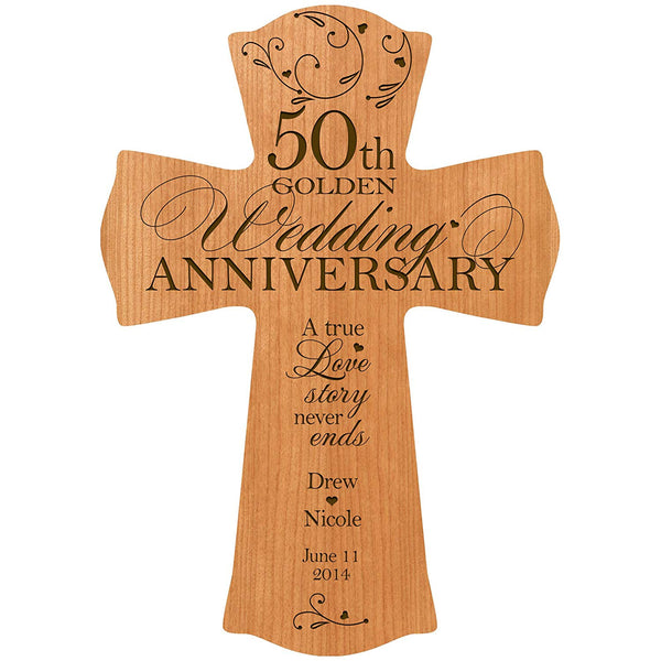Personalized 50th Wedding Anniversary Wood Wall Cross Gift