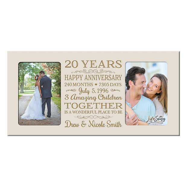 Personalized 20th Year Anniversary Double Photo Frame Ivory