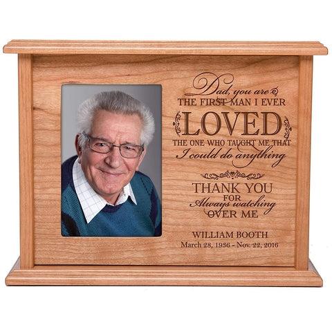 Cremation Urns for Human Ashes Memorial Keepsake box for cremains, personalized Urn for adults and children ashes Dad, you are THE FIRST MAN I EVER LOVED SMALL portion of ashes holds 4x6 photo holds