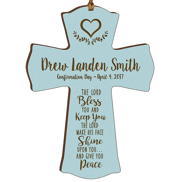 Personalized Baptism 1st Holy Communion Christening Gifts Custom Wall Cross The LORD Bless YOU AND KEEP YOU The LORD MAKE HIS FACE SHINE UPON YOU... Pine wood cross by LifeSong Milestones