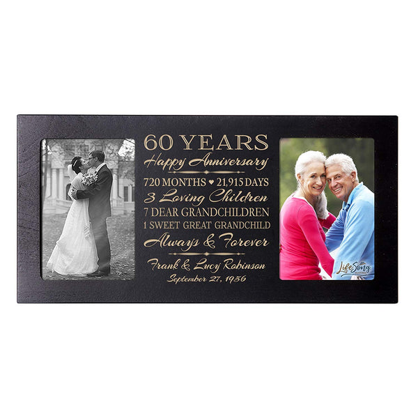 Personalized 65th Year Anniversary Double Photo Frame Black