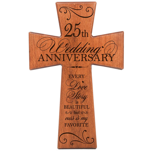 25th Wedding Anniversary Cherry Wood Wall Cross Gift for Couple, 25th Anniversary Gifts for Her,25th Anniversary Gifts for Him Every Love Story Is Beautiful but Ours Is My Favorite # 65204