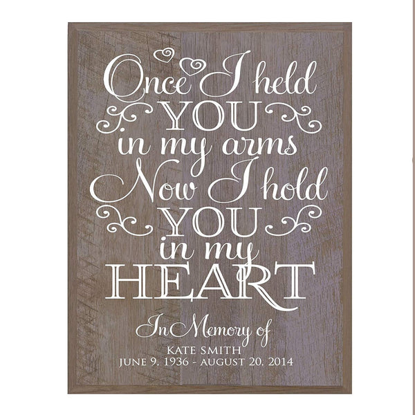Memorial wall plaque Once I Held You size 12 x 15