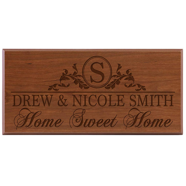 Personalized Family Established Date Sign - Home Sweet Home (8x16, cherry)