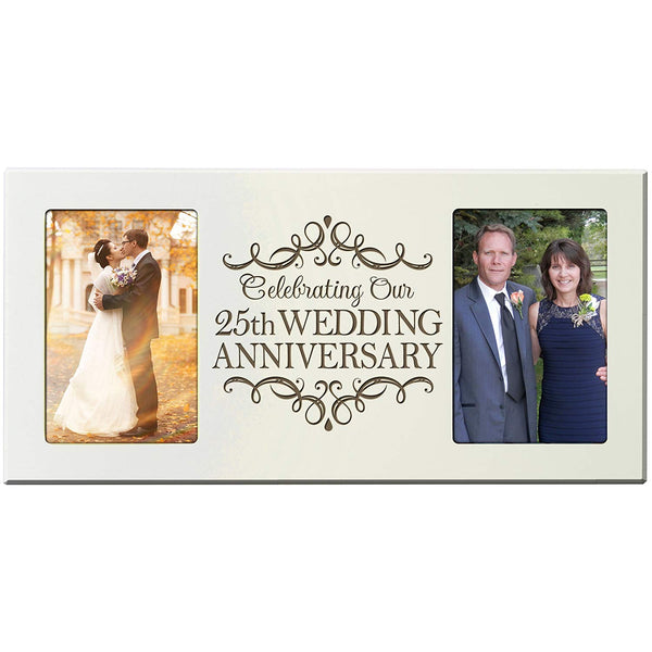 25th Year Wedding Anniversary Double Frame Plaque