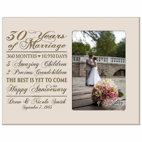 Personalized 30th Anniversary Photo Frame - Together Forever Ivory
