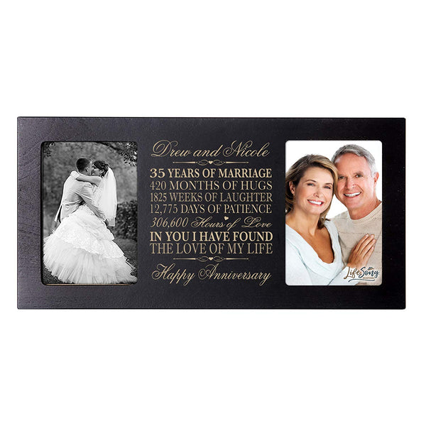 Personalized 35 year anniversary gift her him couple Custom Engraved wedding celebration for Husband wife girlfriend boyfriend photo frame holds two 4x6 photos by LifeSong Milestones