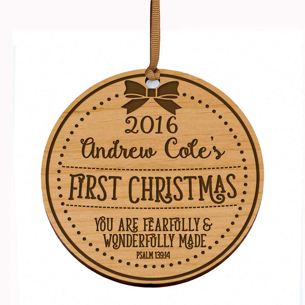 Personalized Baby's First Christmas Ornament New Parent gift ideas for newborn boys and girls Custom engraved wooden ornament for mom dad and grandparents (You are Fearfully & Wonderfully Made)