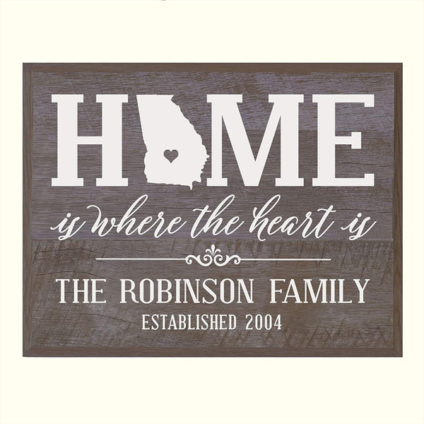 LifeSong Milestones Personalized Georgia State Home is Where the heart is Wall Plaque Sign