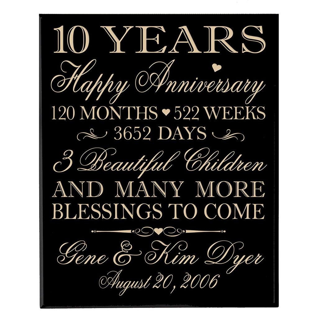 Personalized 10 Year Anniversary Gifts For Couplecustom 10th