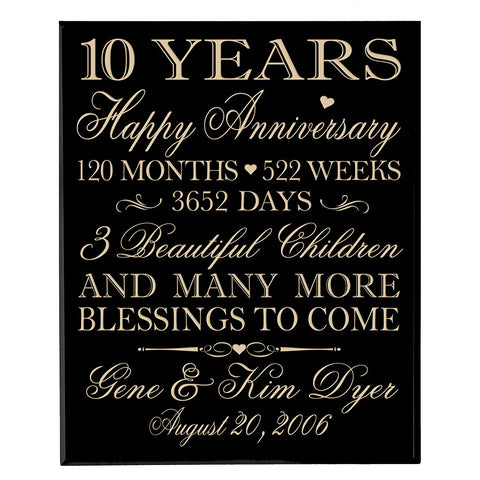 Personalized 10th Anniversary Wall Plaque - Happy Anniversary Black Solid