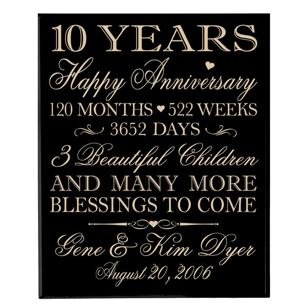 Personalized 10 year Anniversary Gifts for Couple,custom 10th Anniversary Gift for Her,ten years Wedding Anniversary Gifts for Him Family Dates to remember Wall Plaque