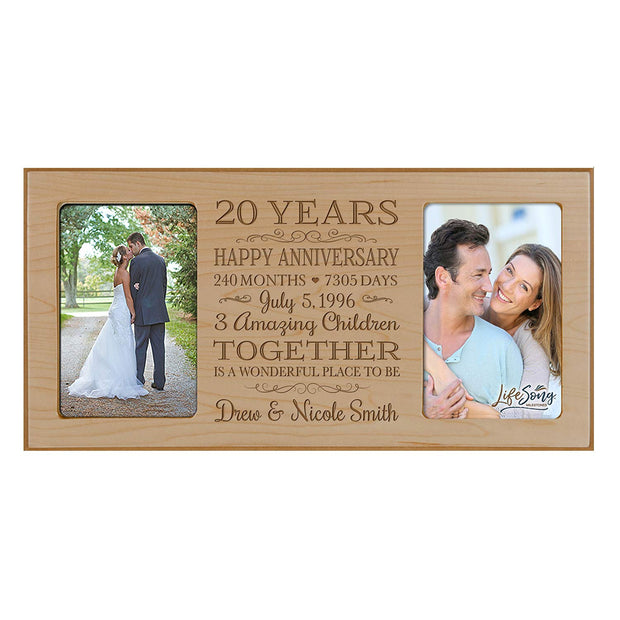 Personalized 20th Year Anniversary Double Photo Frame Maple