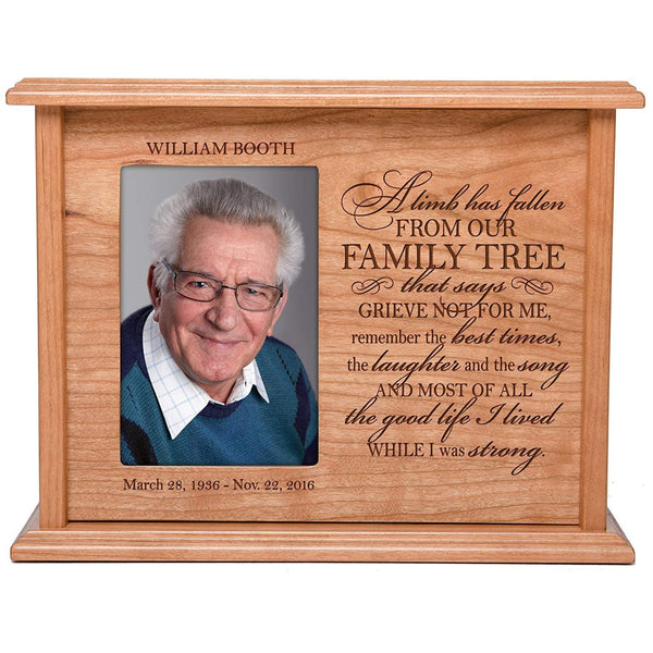 Cremation Urns for Human Ashes Memorial Keepsake box for cremains, personalized Urn for adults and children ashes A limb has fallen from our FAMILY TREE SMALL portion of ashes holds 4x6 photo holds