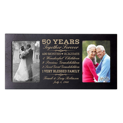 Personalized 50th Year Anniversary Double Photo Frame Black