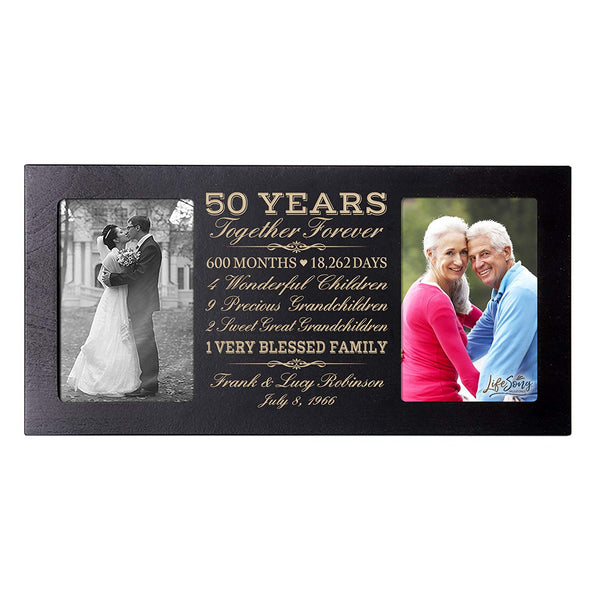 Personalized 50 year anniversary gift her him couple Custom Engraved wedding celebration for Husband wife girlfriend boyfriend photo frame holds two 4x6 photos by LifeSong Milestones