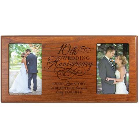 10th Wedding Anniversary Picture Frame Gift Every Love Story Is Beautiful but Our Is My Favorite for Couple for Him Holds 2- 4x6 Photos 8 Inches X 16 Inches from LifeSong Milestones