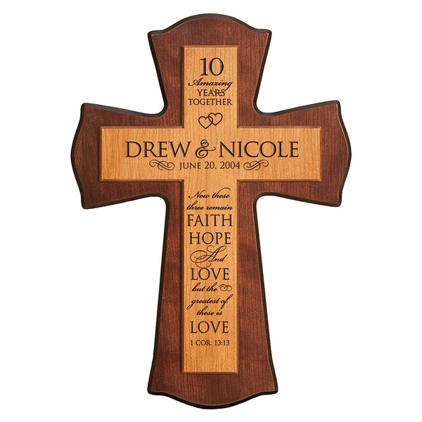 Personalized 10th Anniversary Wall Cross - Greatest of These Is Love