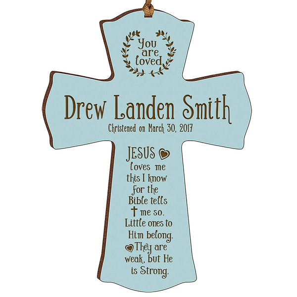 Personalized Baptism Cross Ornament - Jesus Loves Me Blue