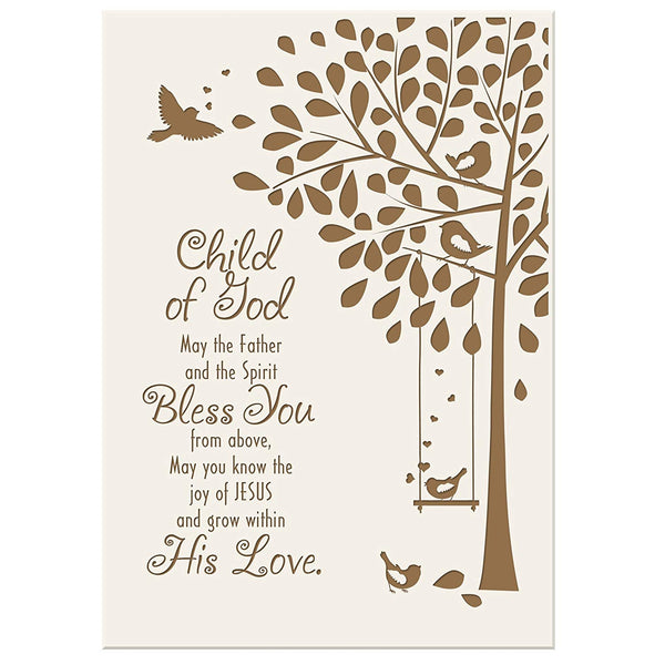 Baptism Gifts for Girls and Boys 1st holy communion ideas for Godchildren Child of God May the father and the Spirit Bless you from Above 6x8 wall plaque