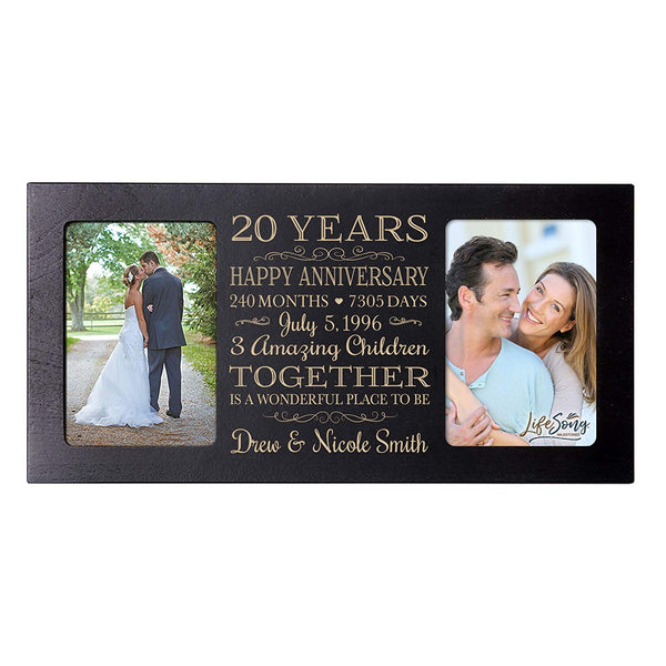 Personalized twenty year anniversary gift her him couple Custom Engraved wedding celebration for Husband wife girlfriend boyfriend photo frame holds two 4x6 photos by LifeSong Milestones