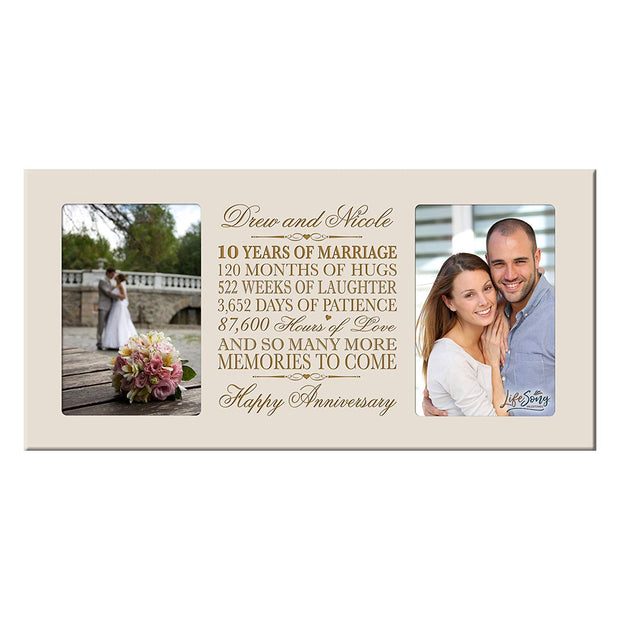 Personalized 10th Anniversary Double Photo Frame - Happy Anniversary Ivory