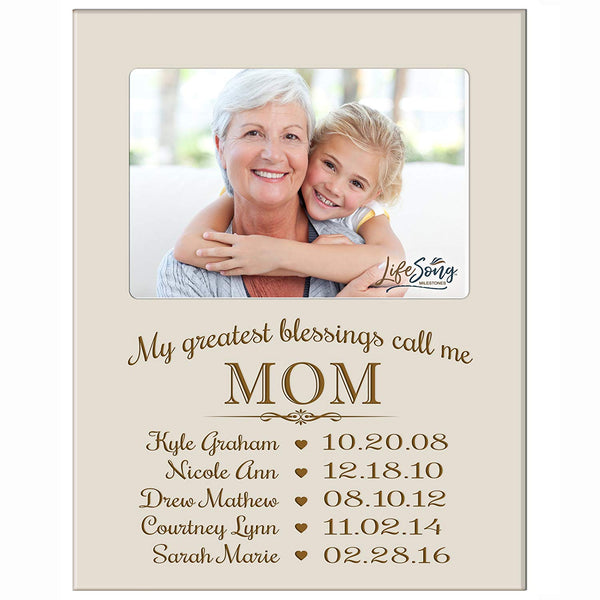 Personalized Gift for Mom Picture Frame with children's names and kid's birth date special dates My Greatest blessings call me Mom holds 4x6 photo by LifeSong Milestones