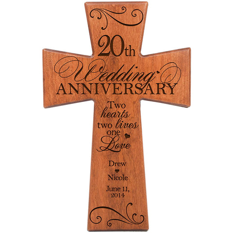 Personalized 20th Wedding Anniversary Cherry Wall Cross Two Hearts