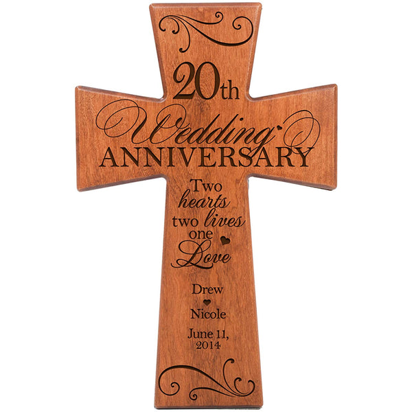 Personalized 20th Wedding Anniversary Cherry Wood Wall Cross Gift for Couple 20 year Anniversary Gifts for Her, Anniversary Gifts for Him Two Hearts Two Lives One Love